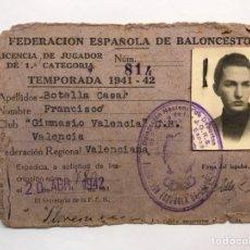 Coleccionismo deportivo: BALONCESTO. FOTOGRAFÍA VALENCIA. CARNET FEDERACIÓN ESPAÑOLA DE BALONCESTO. TEMPORADA (1941-42). Lote 165147790