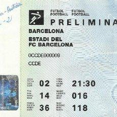 Coleccionismo deportivo: ENTRADA JUEGOS OLÍMPICOS BARCELONA 1992. BARCELONA. ESTADI DEL F. C. BARCELONA. FUTBOL. PRELIMINAR.. Lote 165871066