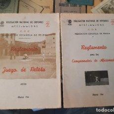Coleccionismo deportivo: ANTIGUOS REGLAMENTOS FEDERACION DE PELOTA FET Y DE LAS JONS FRANQUISMO 1944. Lote 166429334