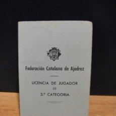 Coleccionismo deportivo: LICENCIA DE JUGADOR , FEDERACION CATALANA DE AJEDREZ , AÑO 1959. Lote 167463120