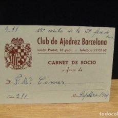 Coleccionismo deportivo: CARNET DE SOCIO , CLUB DE AJEDREZ BARCELONA, AÑO 1959. Lote 167503952
