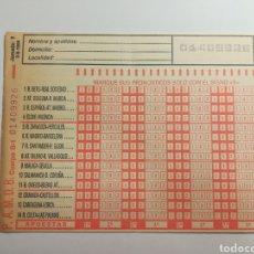 Collezionismo sportivo: BOLETO DE LA QUINIELA - 1984 JORNADA 1. Lote 167991076