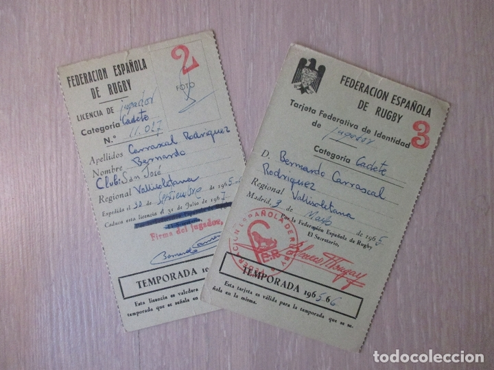 FEDERACIÓN ESPAÑOLA DE RUGBY 1965. CADETE. SEVILLA (Coleccionismo Deportivo - Documentos de Deportes - Otros)