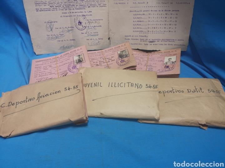 FICHAS DEL CAMPEONATO DE FÚTBOL VI COPA ELCHE C. F. CAMPEONATO LOCAL DE EQUIPOS NO FEDERADOS 1954-55 (Coleccionismo Deportivo - Documentos de Deportes - Otros)