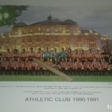 Coleccionismo deportivo: TARJETON PLANTILLA ATHLETIC CLUB DE BILBAO OFICIAL TEMPORADA 1990-1991 27 X 21 CM PERFECTO ESTADO. Lote 170166221
