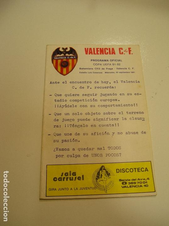 Coleccionismo deportivo: PROGRAMA oficial FUTBOL.VALENCIA C.F.-Bohemians ckd Praga. Copa UEFA.campeonato de europa.1981. - Foto 3 - 171274013