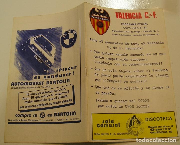 PROGRAMA OFICIAL FUTBOL.VALENCIA C.F.-BOHEMIANS CKD PRAGA. COPA UEFA.CAMPEONATO DE EUROPA.1981. (Coleccionismo Deportivo - Documentos de Deportes - Otros)