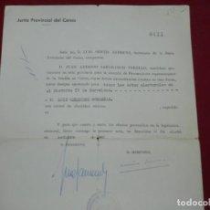 Coleccionismo deportivo: DOCUMENTO FIRMADO POR JUAN ANTONIO SAMARANCH TORELLO, JUNTA PROVINCIAL DEL CENSO, ELECCIONES 1967. Lote 171401640