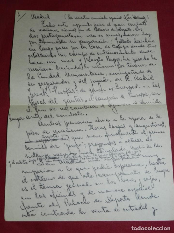 Coleccionismo deportivo: Documento Original Boxeo Paulino Uzcudun en Madrid con la visita de Ferenc Puskas R Madrid - Foto 2 - 171403844