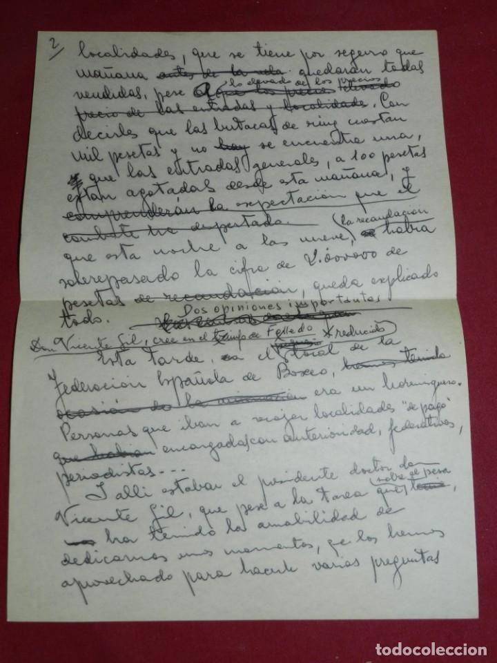 Coleccionismo deportivo: Documento Original Boxeo Paulino Uzcudun en Madrid con la visita de Ferenc Puskas R Madrid - Foto 3 - 171403844