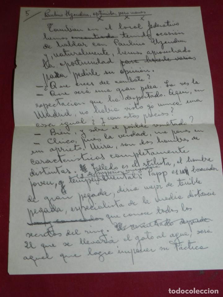 Coleccionismo deportivo: Documento Original Boxeo Paulino Uzcudun en Madrid con la visita de Ferenc Puskas R Madrid - Foto 6 - 171403844