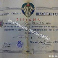 Coleccionismo deportivo: AGRUPACION CICLISTA MONTJUICH. DIPLOMA ORIGINAL AÑO 1949. ALGO FATIGADO. Lote 172297875