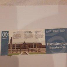 Coleccionismo deportivo: ENTRADA FORMATO DURO JUEGOS PARALIMPICOS BARCELONA 92.. Lote 172574624