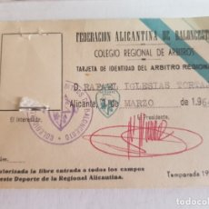 Coleccionismo deportivo: CARNET FEDERACIÓN ALICANTINA DE BALONCESTO (COLEGIO REGIONAL DE ARBITROS)AÑO 64 . Lote 173191834