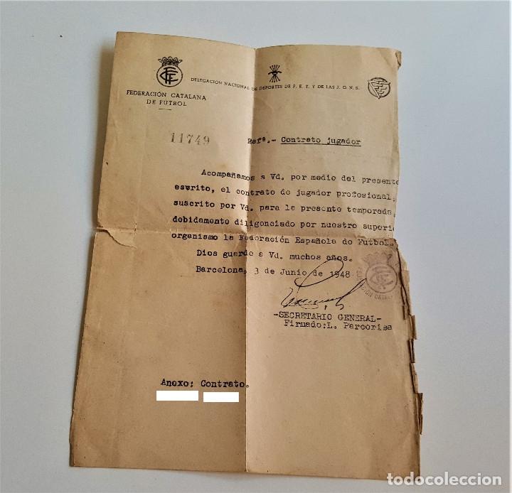 1948 CONTRATO JUGADOR FEDERACION CATALANA DE FUTBOL (Coleccionismo Deportivo - Documentos de Deportes - Otros)