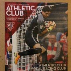 Coleccionismo deportivo: ATHLETIC CLUB 3-0 REAL RACING CLUB. PROGRAMA OFICIAL PARTIDO. DIECISEISAVOS COPA DEL REY. Lote 173883060
