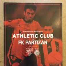 Coleccionismo deportivo: ATHLETIC CLUB 5 - 1 FK PARTIZAN. PROGRAMA OFICIAL PARTIDO UEFA EUROPA LEAGUE 2015/16.. Lote 173883977