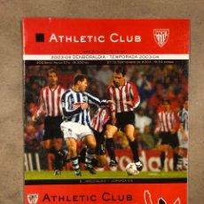 Coleccionismo deportivo: ATHLETIC CLUB 1-0 REAL SOCIEDAD. PROGRAMA PARTIDO JORNADA 5, TEMPORADA 2003/04.. Lote 175329085