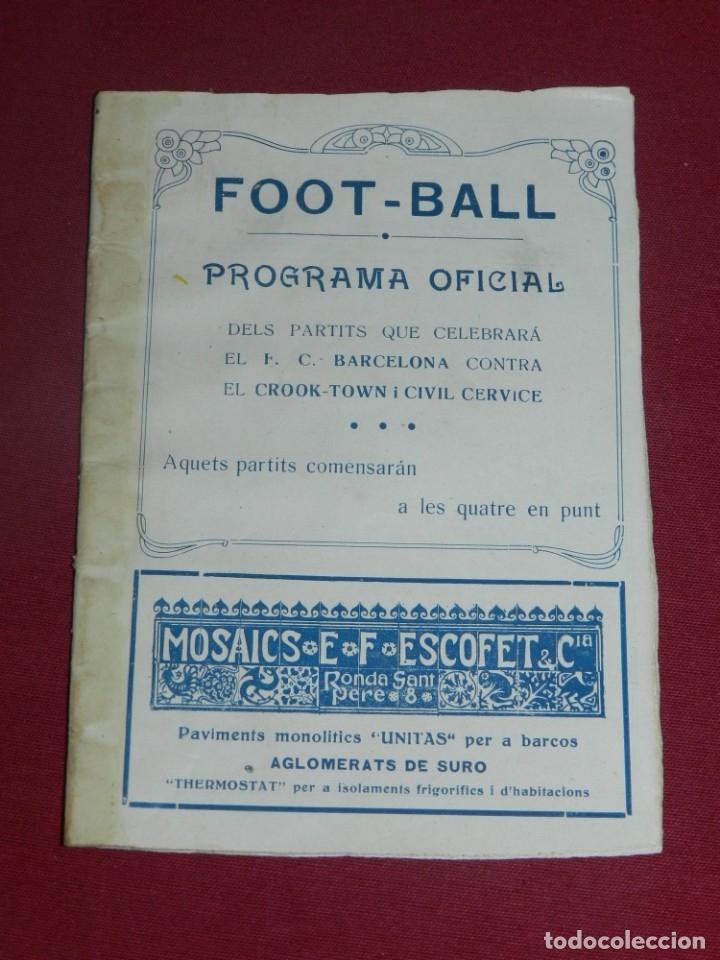 (M) FC BARCELONA - PROGRAMA OFICIAL FC BARCELONA - CROOK-TOWN INGLÉS - CIVIL CERVICE 1921, MUY RARO (Coleccionismo Deportivo - Documentos de Deportes - Otros)
