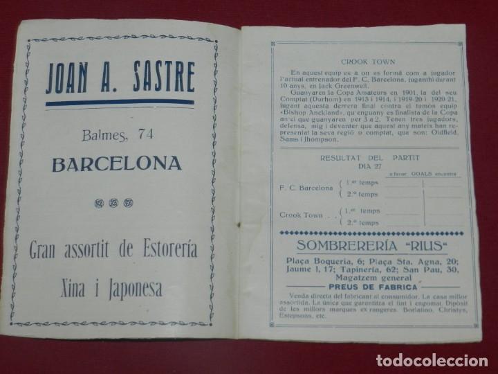 Coleccionismo deportivo: (M) FC Barcelona - Programa Oficial FC Barcelona - Crook-Town Inglés - Civil Cervice 1921, Muy Raro - Foto 3 - 175442742