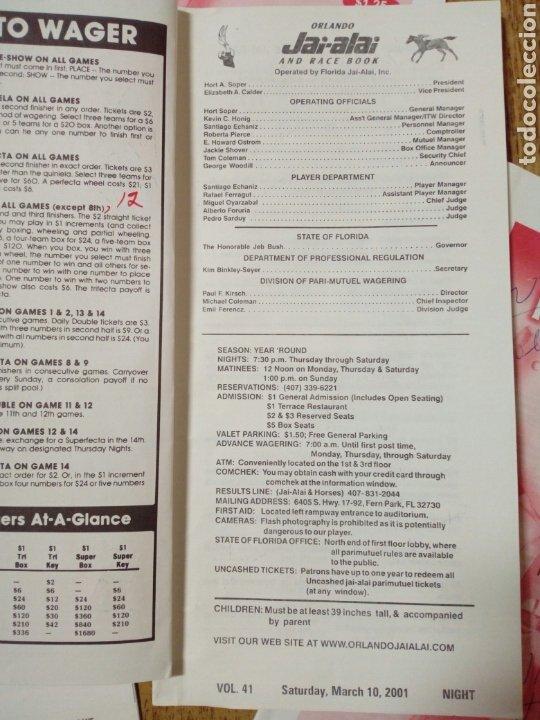 Coleccionismo deportivo: Lote de 4 programas oficiales de ORLANDO JAI ALAI - Cesta Punta - Pelota Vasca - Frontón - Quiniela - Foto 2 - 176012672