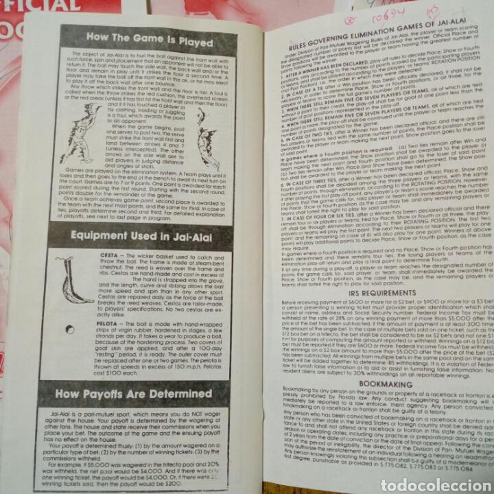 Coleccionismo deportivo: Lote de 4 programas oficiales de ORLANDO JAI ALAI - Cesta Punta - Pelota Vasca - Frontón - Quiniela - Foto 4 - 176012672
