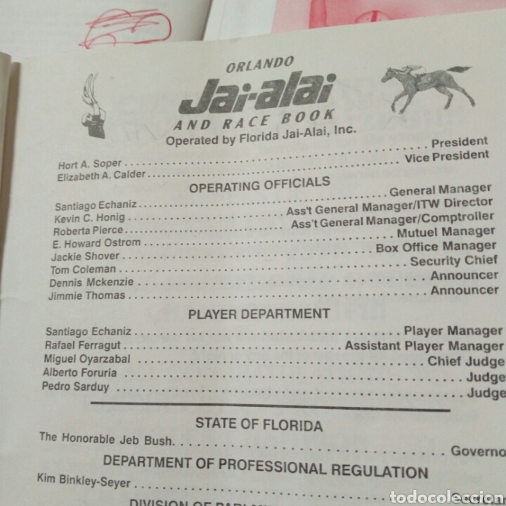 Coleccionismo deportivo: Lote de 4 programas oficiales de ORLANDO JAI ALAI - Cesta Punta - Pelota Vasca - Frontón - Quiniela - Foto 9 - 176012672