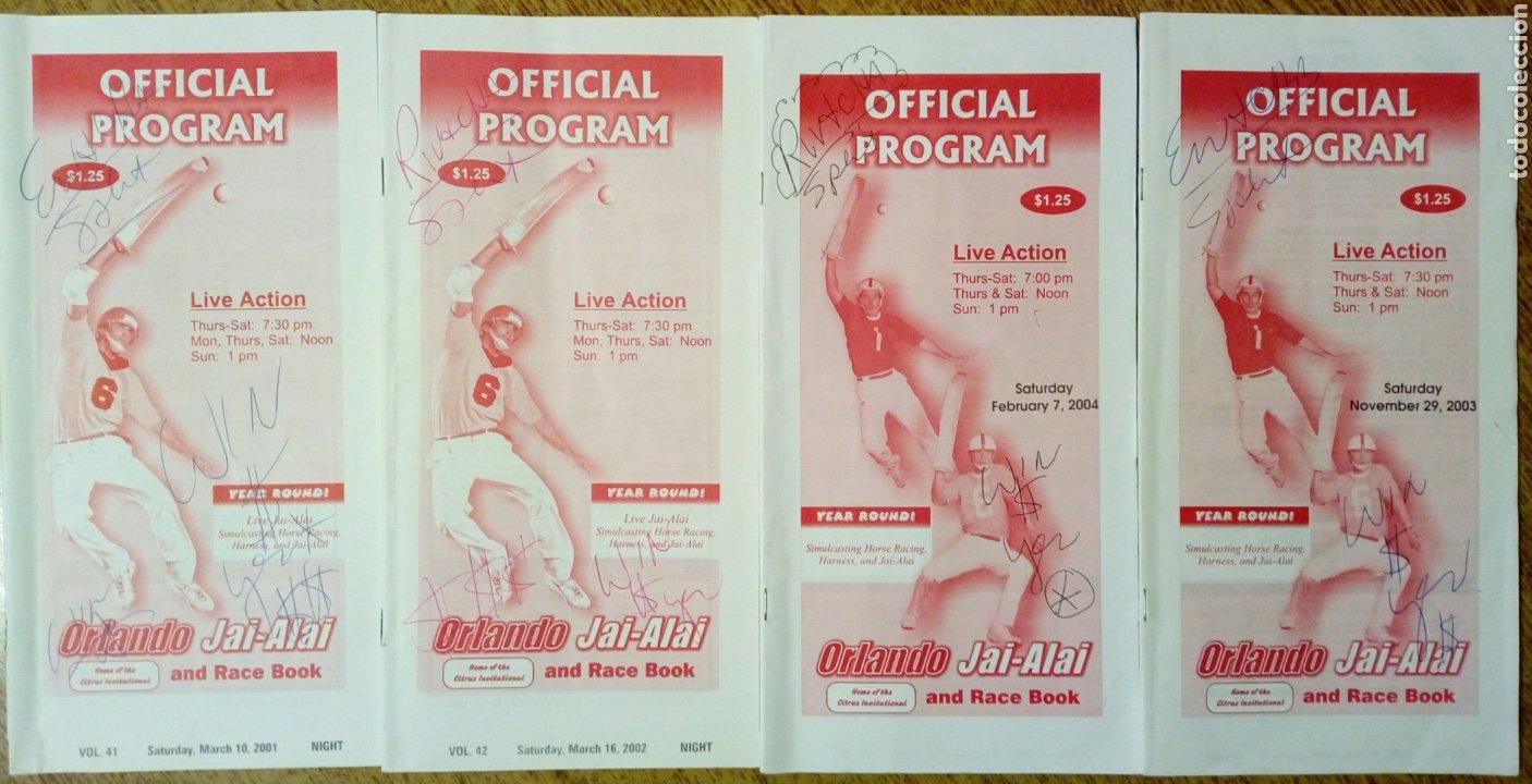LOTE DE 4 PROGRAMAS OFICIALES DE ORLANDO JAI ALAI - CESTA PUNTA - PELOTA VASCA - FRONTÓN - QUINIELA (Coleccionismo Deportivo - Documentos de Deportes - Otros)