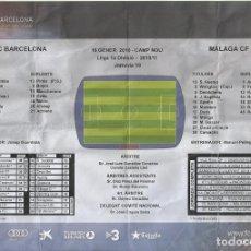 Coleccionismo deportivo: PROGRAMA PARTIDO ALINEACIONES F.C.BARCELONA-MÁLAGA CF. 16 ENERO 2010. 30X21 CM. BUEN ESTADO. . Lote 176073108