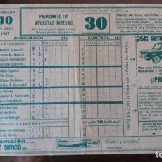 Coleccionismo deportivo: QUINIELA DE FÚTBOL, JORNADA 30, 23 DE ABRIL DE 1967. Lote 176430904