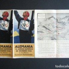 Coleccionismo deportivo: FOLLETO ALEMANIA. IV JUEGOS OLÍMPICOS DE INVIERNO 1936. 6-16 FEBRERO. GARMISCH-PARTENKIERCHEN. Lote 176837440