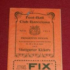 Coleccionismo deportivo: (M) FC BARCELONA - PROGRAMA OFICIAL FC BARCELONA - STUTTGARTE KICKERS ALEMAN 1914, MUY RARO. Lote 176918230