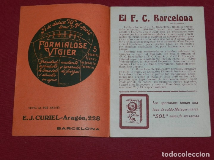 Coleccionismo deportivo: (M) FC Barcelona - Programa Oficial FC Barcelona - Stuttgarte Kickers Aleman 1914, Muy Raro - Foto 2 - 176918230