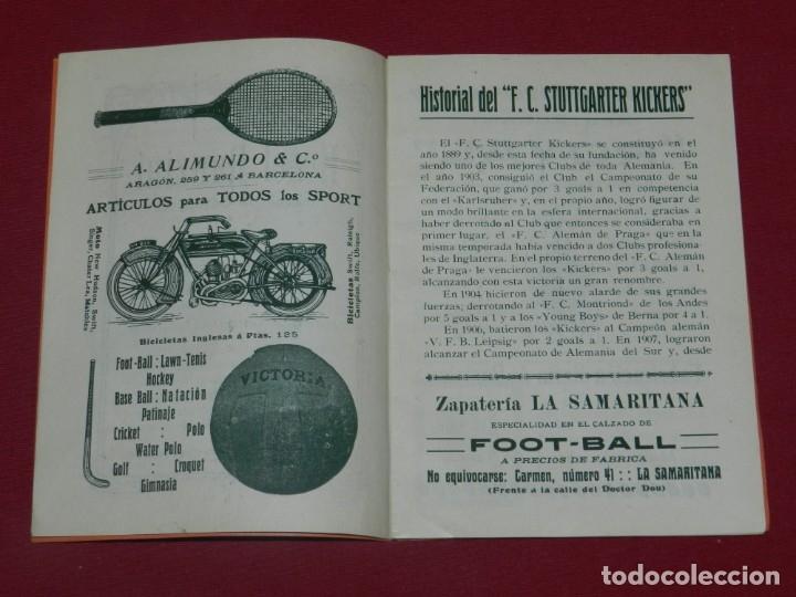 Coleccionismo deportivo: (M) FC Barcelona - Programa Oficial FC Barcelona - Stuttgarte Kickers Aleman 1914, Muy Raro - Foto 3 - 176918230