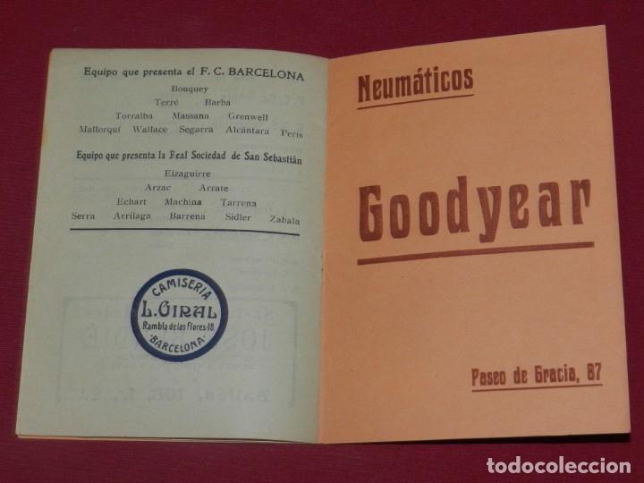 Coleccionismo deportivo: (M) FC Barcelona - Programa Oficial FC Barcelona - R Sociedad de San Sebastian 1915, Muy Raro - Foto 3 - 176918429