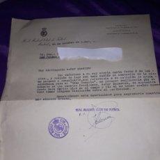 Colecionismo desportivo: ANTIGUA HOJA DEL REAL MADRID CLUB DE FÚTBOL 1947.PRESIDENTE BERNABÉU CON ESCUDO DEL CLUB. Lote 177620049