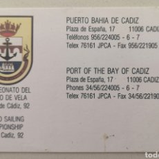 Coleccionismo deportivo: TARJETA DE CONTACTO CAMPEONATO DEL MUNDO DE VELA - BAHÍA DE CÁDIZ AÑO 1992. Lote 177637338