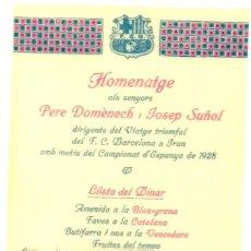 Coleccionismo deportivo: (F-190991)MINUTA DE CELULOIDE HOMENATGE A P.DOMENECH I J.SUÑOL VIATGE TRIOMFAL F.C.BARCELONA 1928. Lote 177818733