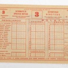 Coleccionismo deportivo: BOLETO DE QUINIELA SIN USAR. JORNADA 3. 25 DE SEPTIEMBRE DE 1960. Lote 178665461