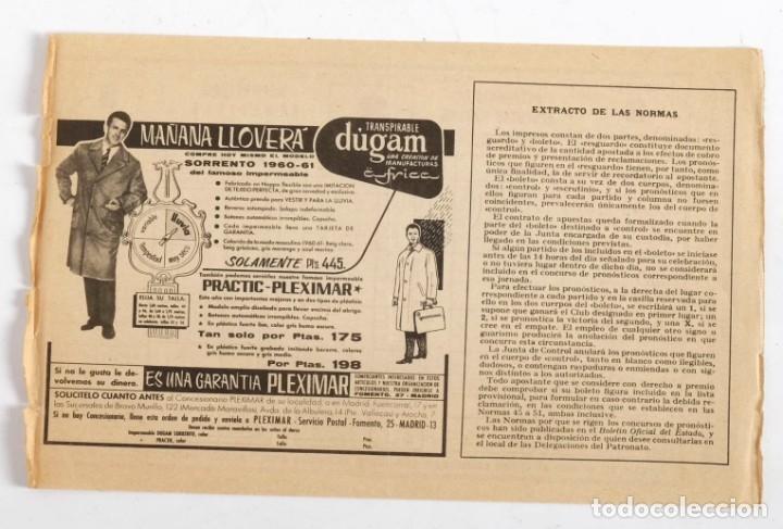 Coleccionismo deportivo: Boleto de Quiniela sin usar. Jornada 3. 25 de septiembre de 1960 - Foto 2 - 178665461