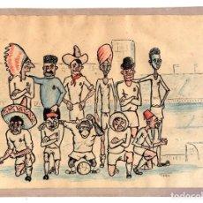 Coleccionismo deportivo: DIBUJO ORIGINAL COMICO REAL MADRID INTERNACIONAL. ILUSTRADO POR TORO. Lote 178760031