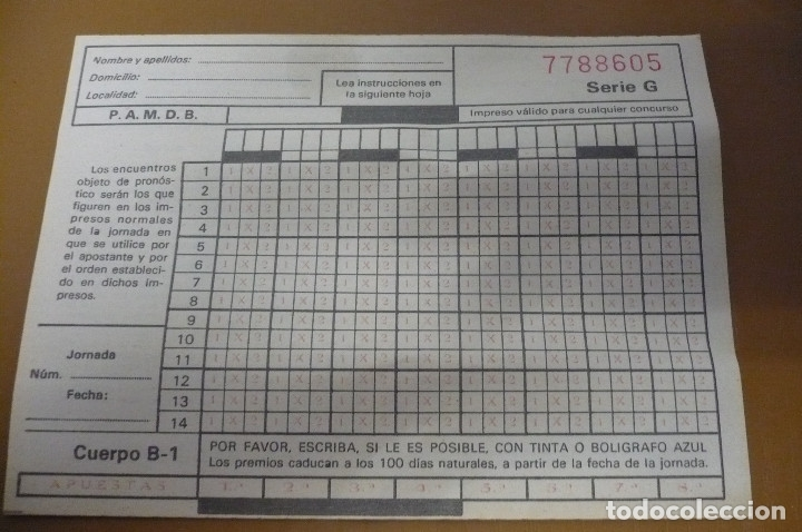 QUINIELA P.A.M.D.B (Coleccionismo Deportivo - Documentos de Deportes - Otros)