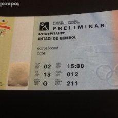 Coleccionismo deportivo: OLIMPIADAS 1992. PRELIMINAR BÉISBOL . L'HOSPITALET ESTADI DE BÉISBOL . Lote 181023701