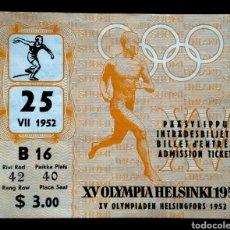 Coleccionismo deportivo: ENTRADA JUEGOS HELSINKI 1952 JUEGOS OLIMPICOS OLIMPIADA ATLETISMO. Lote 181093516