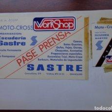 Coleccionismo deportivo: 2 PASES PRENSA MOTO - CROSS 1979. Lote 181402931