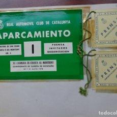 Coleccionismo deportivo: XV CARRERA EN CUESTA AL MONTSENY - 2 PASES PRENSA Y 1 PASE PRENSA APARCAMIENTO - 1978. Lote 181403493