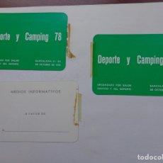 Coleccionismo deportivo: 3 PASE PRENSA - SALÓN DEPORTE Y CAMPING - 1978 . Lote 181406240