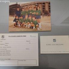Coleccionismo deportivo: LOTE F.C BARCELONA FOTO INEDITA 18X13CM 1983 + FICHA+TARJETA OFICIAL MEYBA. Lote 182722838