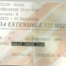Coleccionismo deportivo: ENTRADA BALONCESTO. EUROLEAGUE 2019/2020. REAL MADRID - FC BARCELONA. Lote 183862535