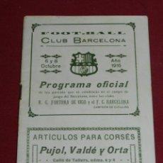 Coleccionismo deportivo: (M) FC BARCELONA - PROGRAMA OFICIAL FC BARCELONA - RG FORTUNA DE VIGO 1916, MUY RARO. Lote 184364926